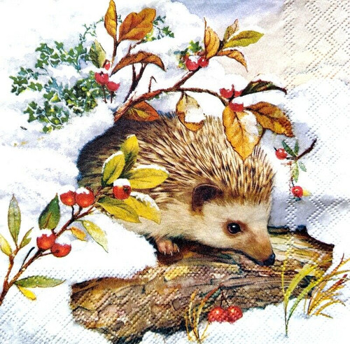 4 Lunch Paper Napkins for Decoupage Party Table Craft Vintage Winter Hedgehog