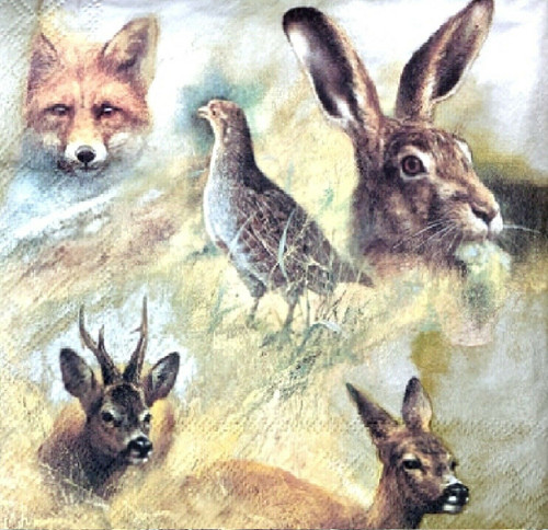 4 Lunch Paper Napkins for Decoupage Party Table Craft Vintage Wild Animals Multi