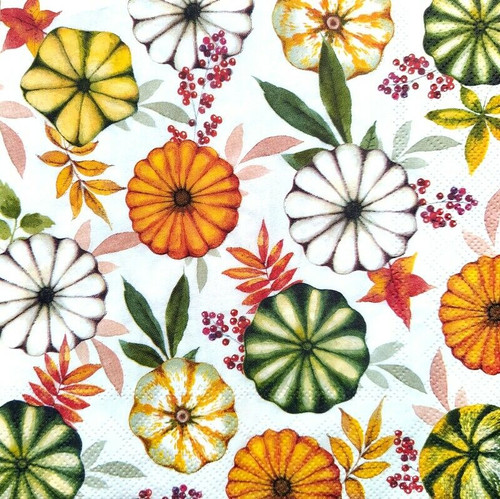 4 Lunch Paper Napkins for Decoupage Party Table Craft Vintage Colourful Pumpkins
