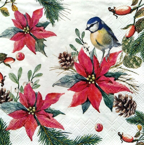 4 Lunch Paper Napkins for Decoupage Party Table Craft Vintage Bird On Poinsettia