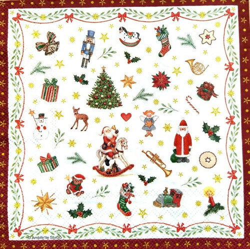 4 Lunch Paper Napkins for Decoupage Party Table Craft Vintage Xmas Decorations