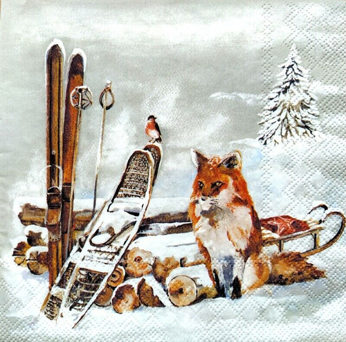 4 Lunch Paper Napkins for Decoupage Party Table Craft Vintage Fox and Bird