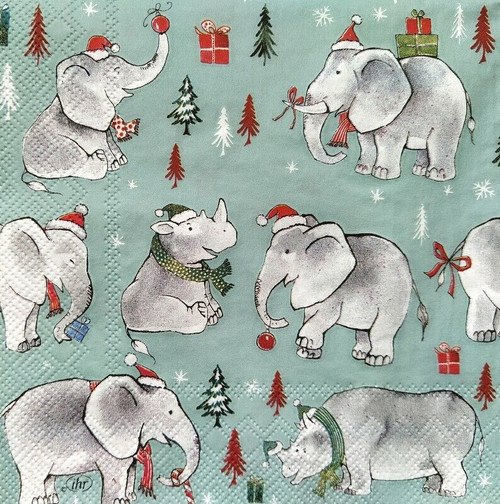 4 Lunch Paper Napkins for Decoupage Party Table Craft Vintage Wild Christmas, Elephants