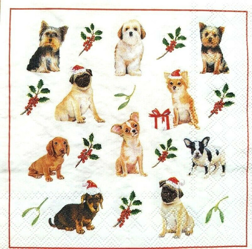 4 Lunch Paper Napkins for Decoupage Party Table Craft Vintage Christmas Dogs
