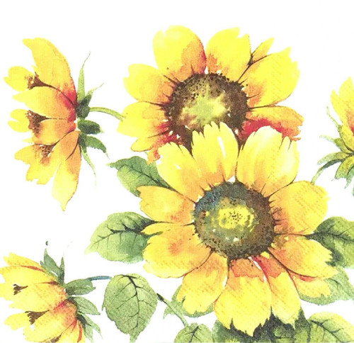 4 Lunch Paper Napkins for Decoupage Party Table Craft Vintage Colourful Sunflowers