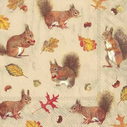 4 Lunch Paper Napkins for Decoupage Party Table Craft Vintage Squirrels