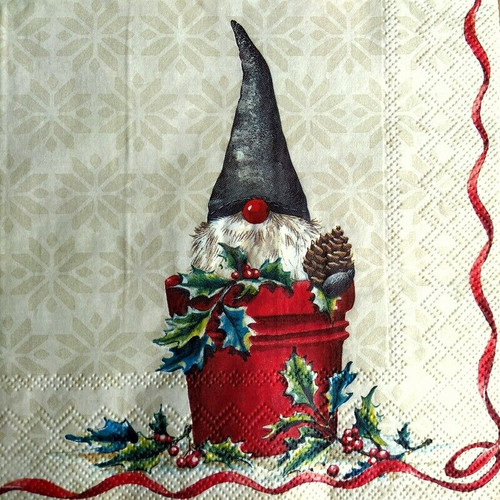 4 Lunch Paper Napkins for Decoupage Party Table Craft Vintage Christmas Gnoms
