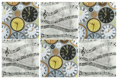 6 Single Vintage Cocktail Paper Napkins (25cm x 25cm) for Decoupage - Clocks , Music
