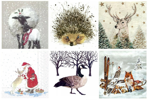 6 Single Vintage Cocktail Paper Napkins (25cm x 25cm)  for Decoupage - Winter Animals