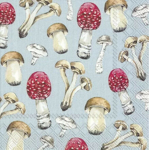 4 Lunch Paper Napkins for Decoupage Party Table Craft Vintage Country Mushrooms Blue