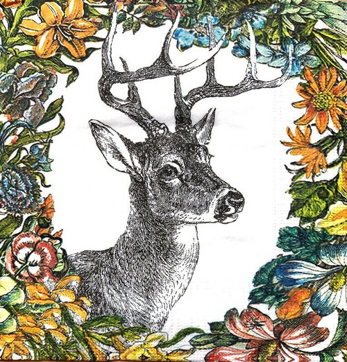 4 Lunch Paper Napkins for Decoupage Party Table Craft Vintage Alfred, Deer