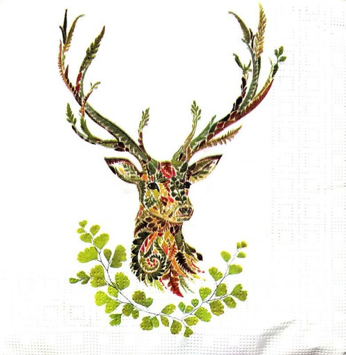 4 Lunch Paper Napkins for Decoupage Party Table Craft Vintage Green Deer