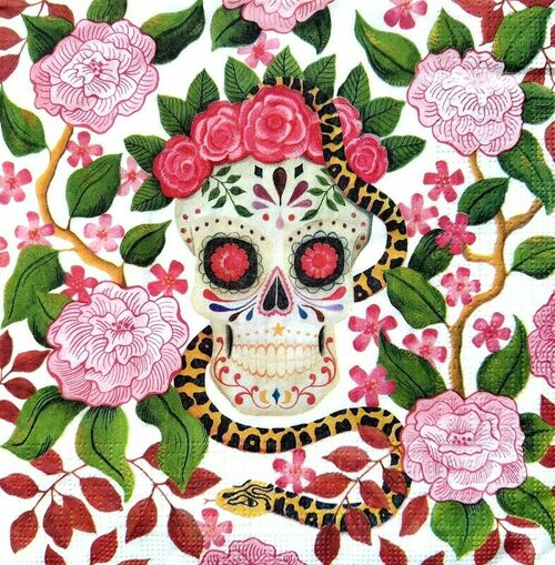 4 Lunch Paper Napkins for Decoupage Party Table Craft Vintage Skull