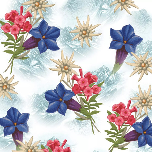 4 Lunch Paper Napkins for Decoupage Party Table Craft Vintage, Christmas Flowers