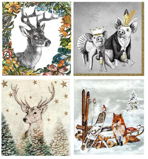 4 Different Vintage Table Paper Napkins for Party Lunch Decoupage Animals Photo