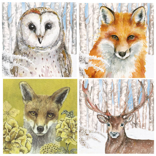 4 Different Vintage Table Paper Napkins for Party Lunch Decoupage Winter Animals