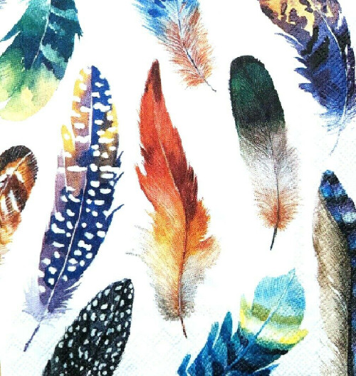 6 Single Vintage Cocktail Paper Napkins (25cm x 25cm) for Decoupage - Colourful Feathers