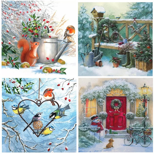 4 Different Vintage Table Paper Napkins for Party Lunch Decoupage Christmas Animals 1/2