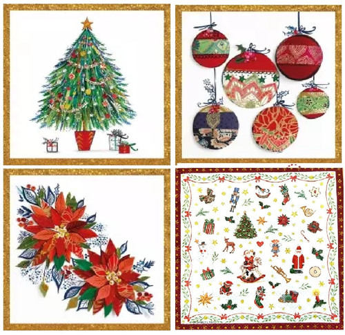 4 Different Vintage Table Paper Napkins for Party Lunch Decoupage Christmas Decorations