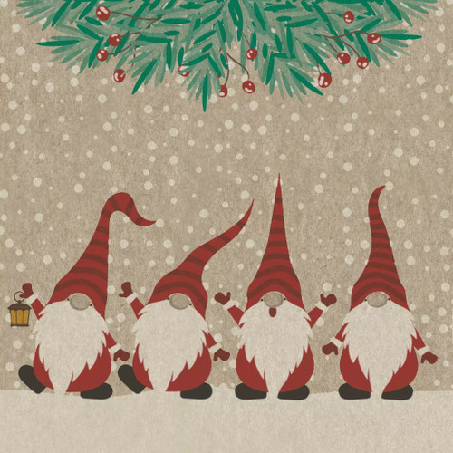 4 Lunch Paper Napkins for Decoupage Party Table Craft Vintage Happy Santas