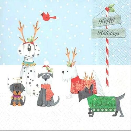 4 Lunch Paper Napkins for Decoupage Party Table Craft Vintage, Holiday Puppies