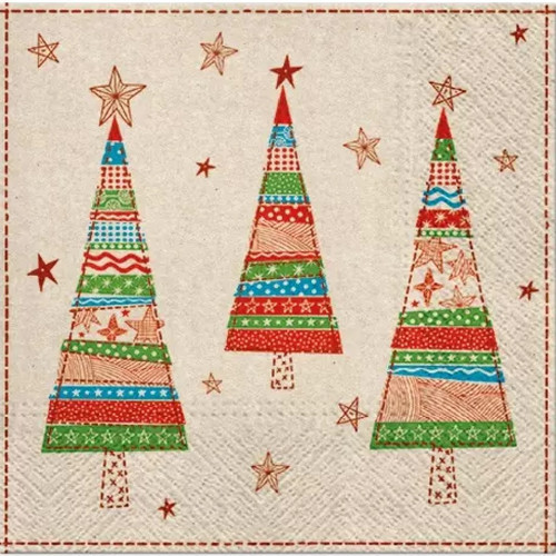 4 Lunch Paper Napkins for Decoupage Party Table Craft Vintage Patchwork Trees