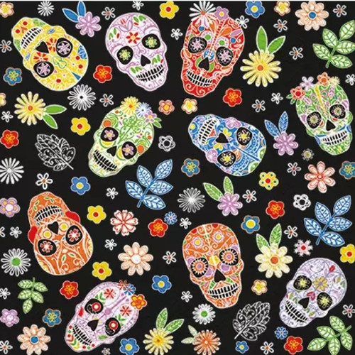 4 Lunch Paper Napkins for Decoupage Party Table Craft Vintage Skull, Skullmania