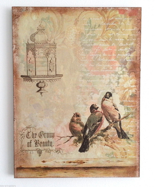 Wall Picture Plaque , Vintage Retro style Handmade Birds On Decoupage
