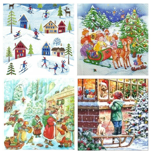 4 Different Vintage Table Paper Napkins for Party Lunch Decoupage Christmas Mix1
