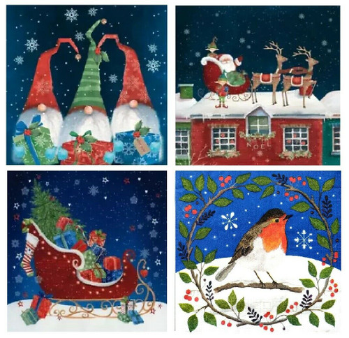 4 Different Vintage Table Paper Napkins for Party Lunch Decoupage Christmas Christmas Mix2