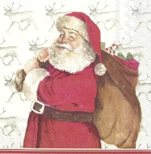 4 Lunch Paper Napkins for Decoupage Party Table Craft Vintage MISTER CLAUS