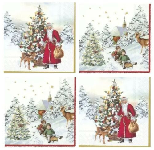 4 Different Vintage Table Paper Napkins for Party Lunch Decoupage Christmas Mix3