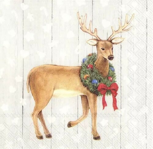 4 Lunch Paper Napkins for Decoupage Party Table Craft Vintage, Christmas Deer