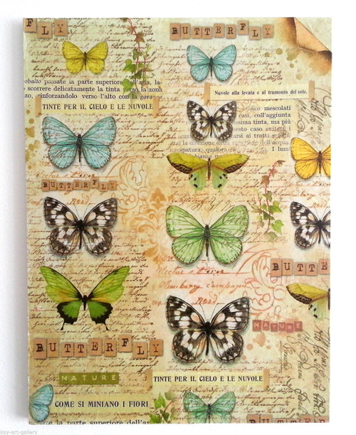 Wall Picture Plaque , Vintage Retro style Handmade Butterflies 2 Decoupage