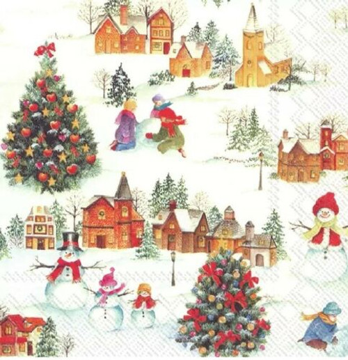 4 Lunch Paper Napkins for Decoupage Party Table Craft Vintage Happy Christmas Time