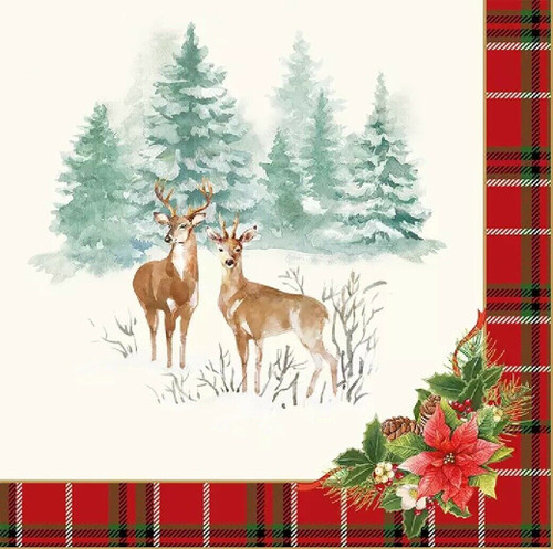 4 Lunch Paper Napkins for Decoupage Party Table Craft Vintage, Winter Forest