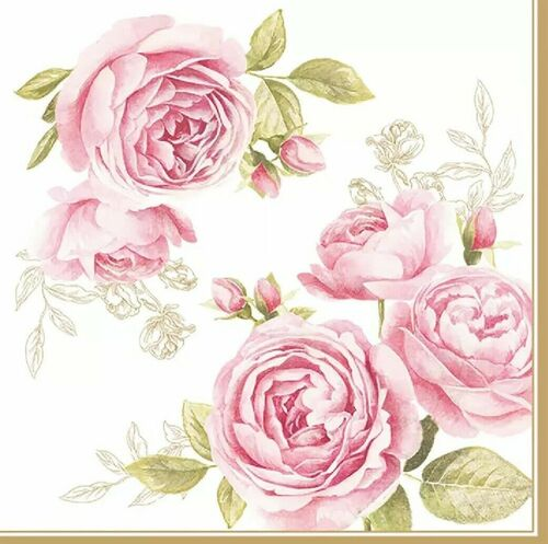 4 Lunch Paper Napkins for Decoupage Party Table Craft Vintage, Delicate Roses