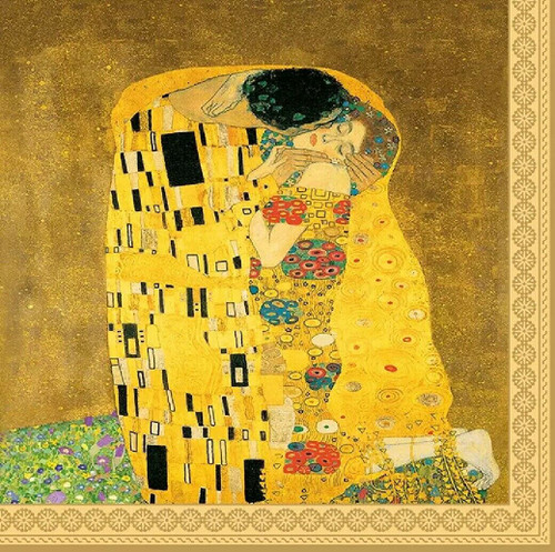 4 Lunch Paper Napkins for Decoupage Party Table Craft Vintage, The Kiss, by Gustav Klimt