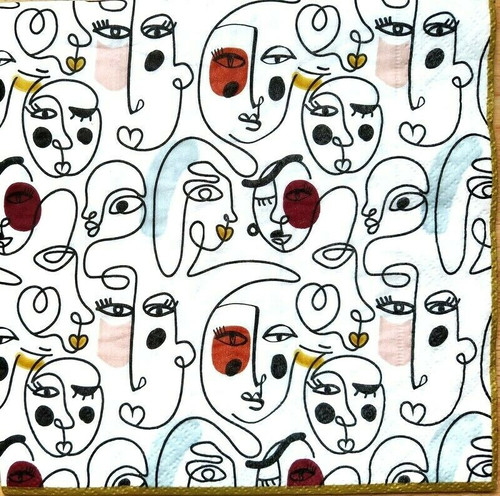 4 Lunch Paper Napkins for Decoupage Party Table Craft Vintage, Faces, Modernism