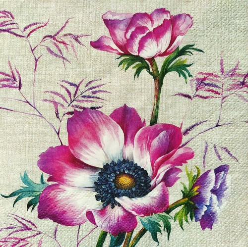 4 Lunch Paper Napkins for Decoupage Party Table Craft Vintage, Poppies