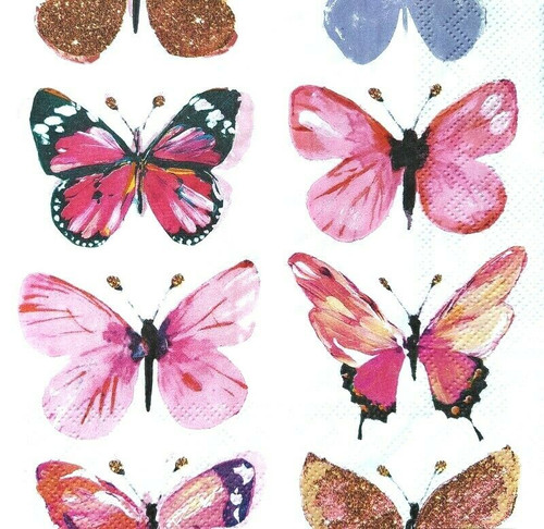 4 Lunch Paper Napkins for Decoupage Party Table Craft Vintage, Butterflies Pink