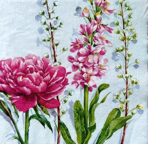 4 Lunch Paper Napkins for Decoupage Party Table Craft  Vintage, Peony, Meadow