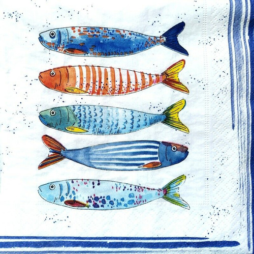 4 Lunch Paper Napkins for Decoupage Party Table Craft  Vintage,   Fish, Sea, Blue