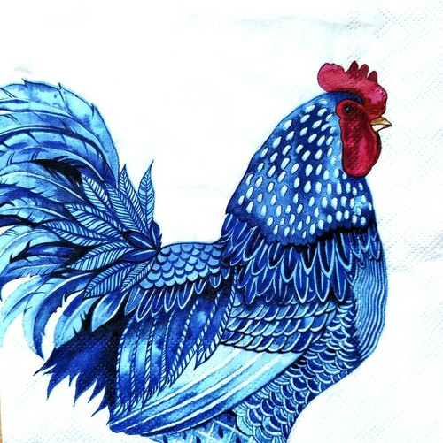 4 Lunch Paper Napkins for Decoupage Party Table Craft Vintage, Rooster and Hen, Blue