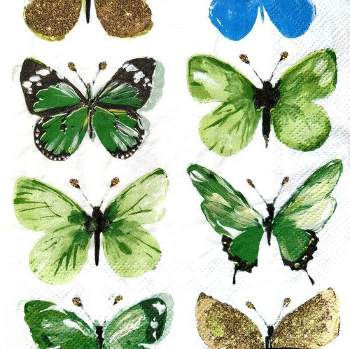 4 Lunch Paper Napkins for Decoupage Party Table Craft Vintage, Butterflies Green