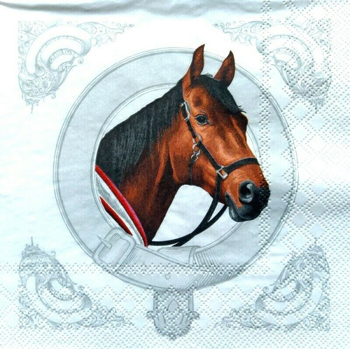 4 Lunch Paper Napkins for Decoupage Party Table Craft Vintage, Classic Horse