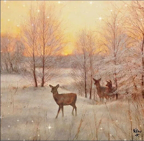 4 Lunch Paper Napkins for Decoupage Party Table Craft Vintage, Deer At Sunset