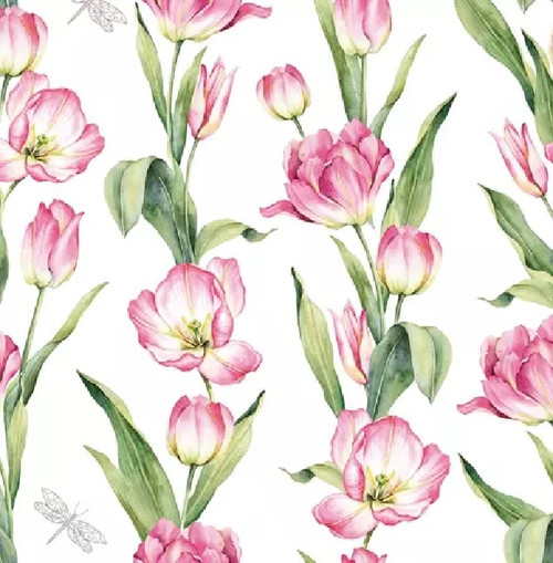 4 Lunch Paper Napkins for Decoupage Party Table Craft Vintage, Chaînes de Tulipes pink