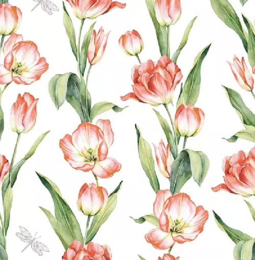 4 Lunch Paper Napkins for Decoupage Party Table Craft Vintage, Chaînes de Tulipes red