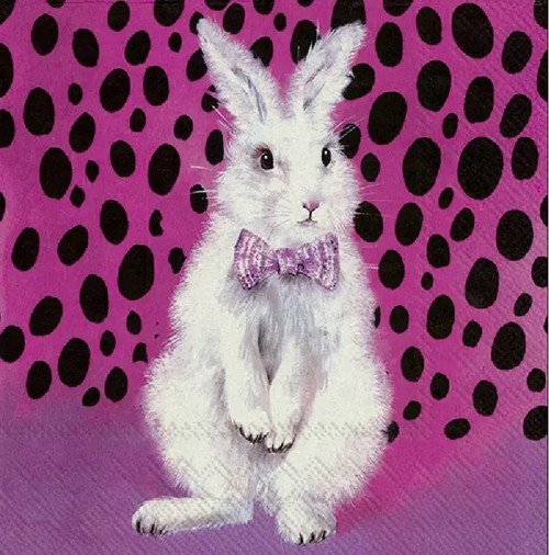 4 Lunch Paper Napkins for Decoupage Party Table Craft Vintage, Bad Hair Bunny